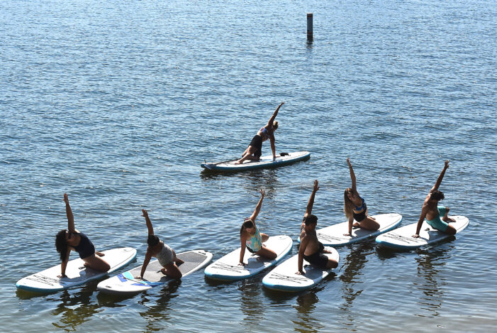 Yoga in the park, at the bar, on a paddleboard