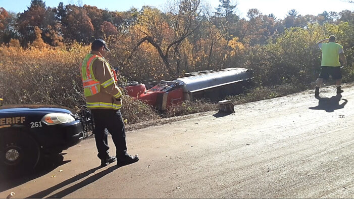 Fuel tanker slides off Newman Road, injuries avoided