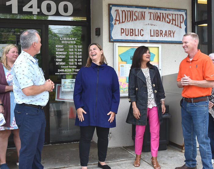 Slotkin checks out Addison Twp. Library