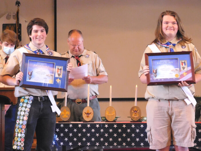 Eagle Scouts hold belated celebration